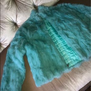 Faux Fur Wilson's Leather Teal Coat
